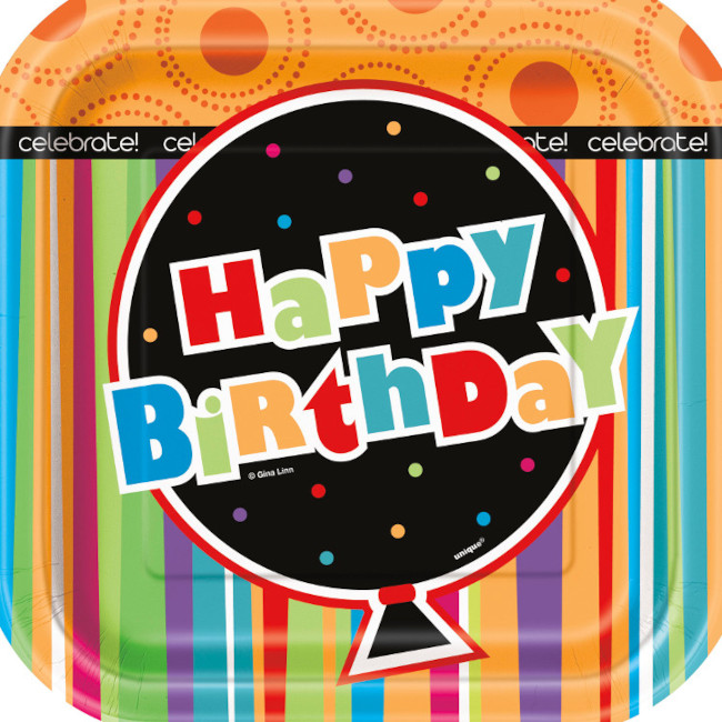 10 Paper Plate 18cm Birthday Stripes Square