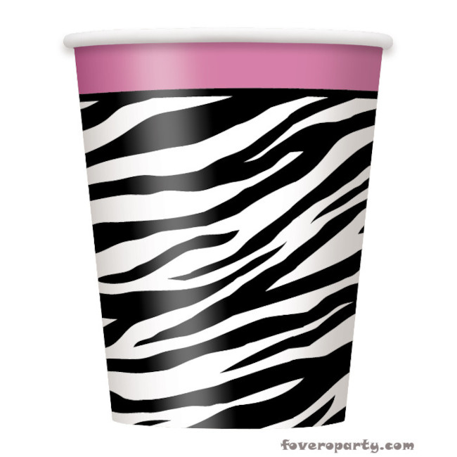 8 Paper Cups Zebra party