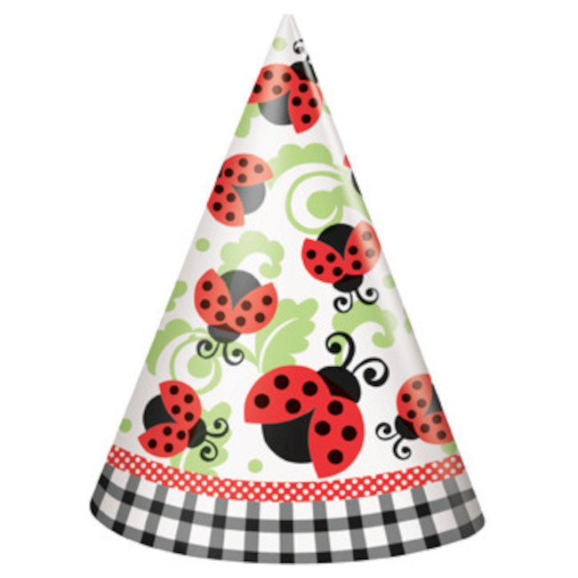 8 Party Hats Ladybugs