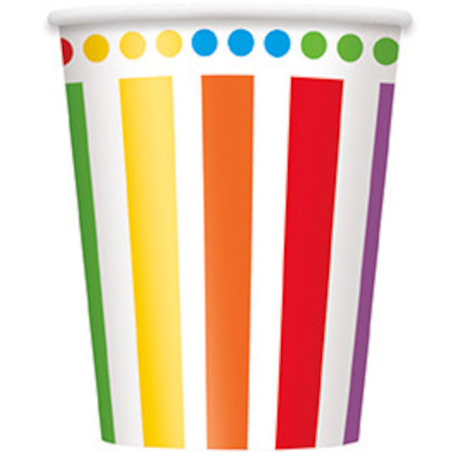 8 Paper Cups Rainbow Birthday