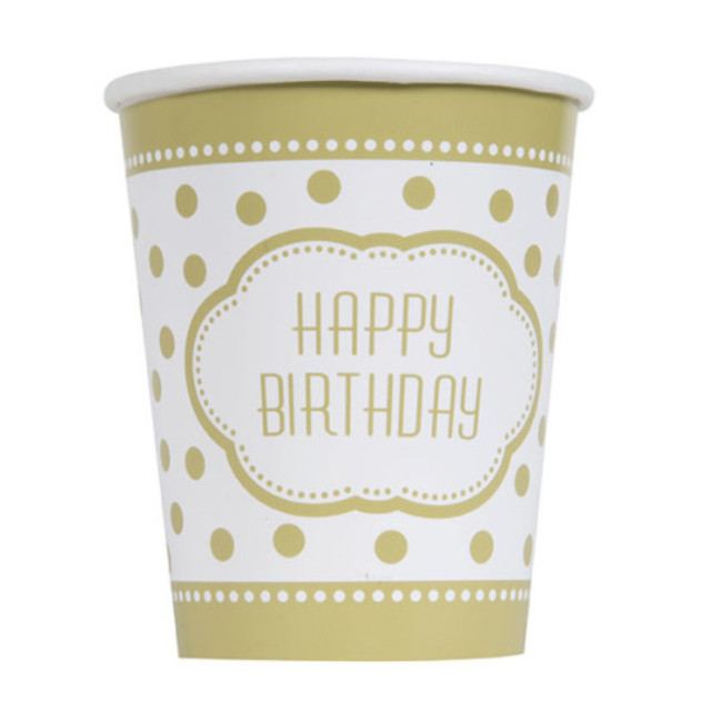 8 Paper Cups Golden Birthday