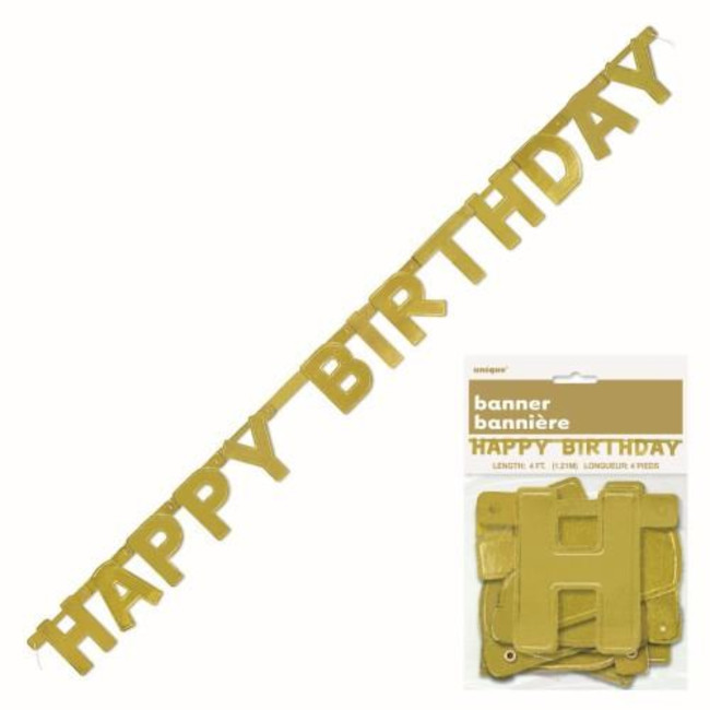 Happy Birthday Jointed Banner Gold 1.27cm