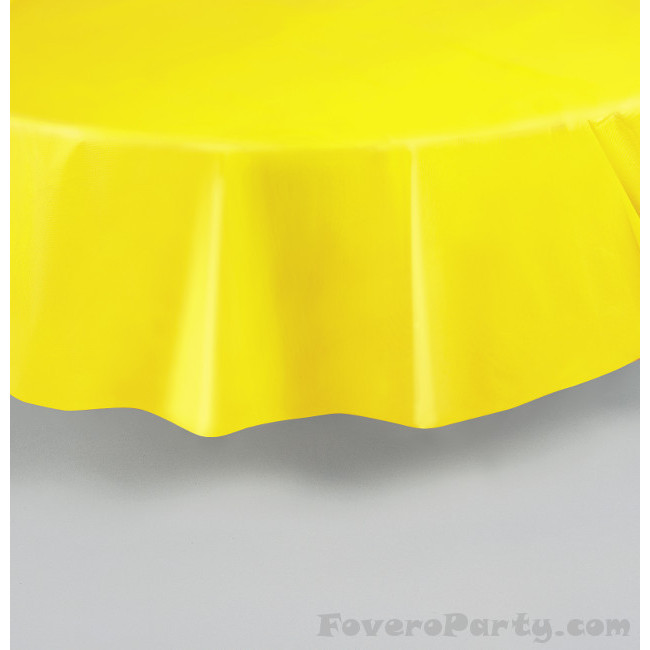 Yellow Plastic Tablecover Round 213cm