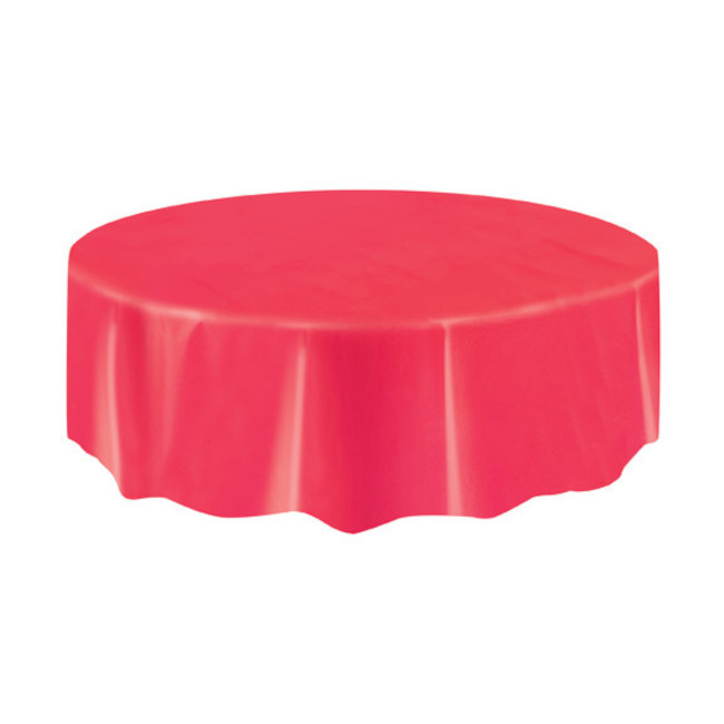 Red Plastic Tablecover Round 213cm