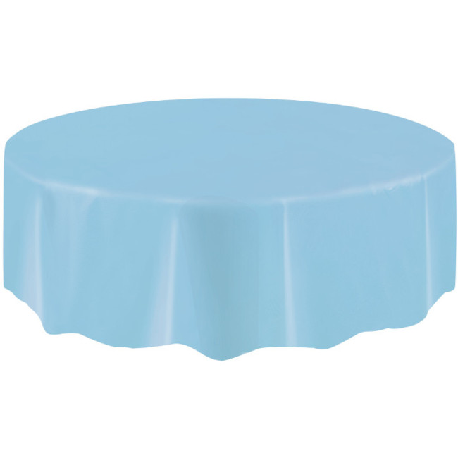 Light Blue Plastic Tablecover Round 213cm