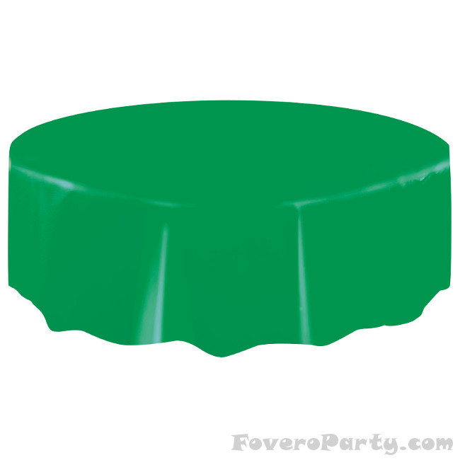 Green Plastic Tablecover Round 213cm