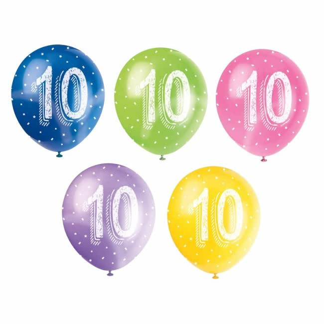 5 Balloons No.10 Assorted colours Pearlized 30cm
