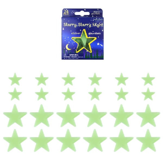 Glow in the Dark Stars & Planets 24pcs (assorted designs)