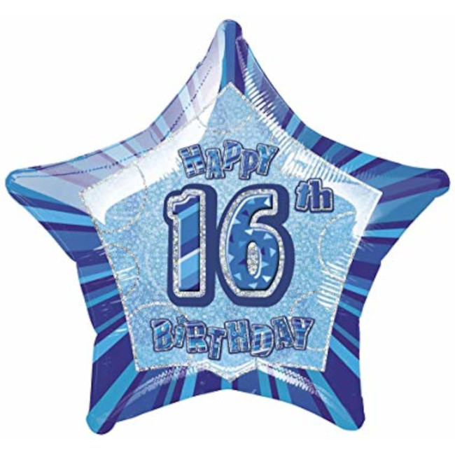 Foil Balloon Blue Star 16th Birthday 50cm