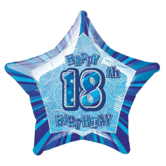 Foil Balloon Blue Star 18th Birthday 50cm