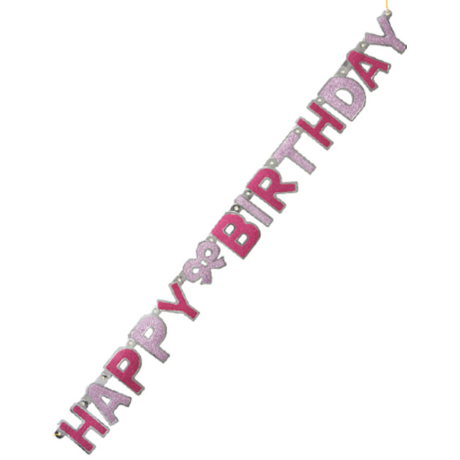Happy Birthday Jointed Banner Pink 1.27cm
