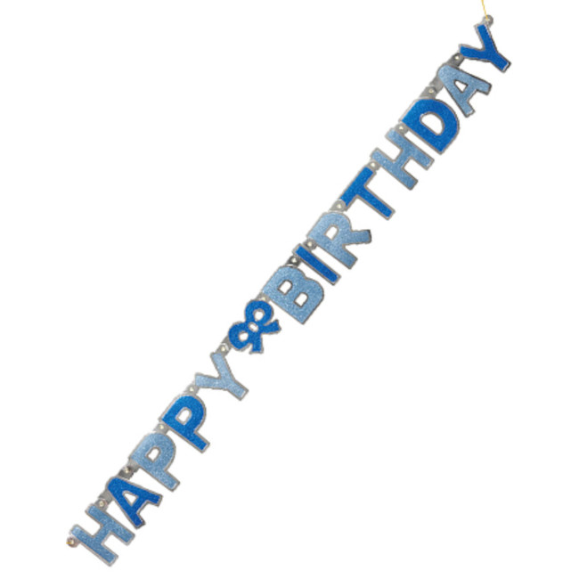 Happy Birthday Jointed Banner Blue 1.27cm