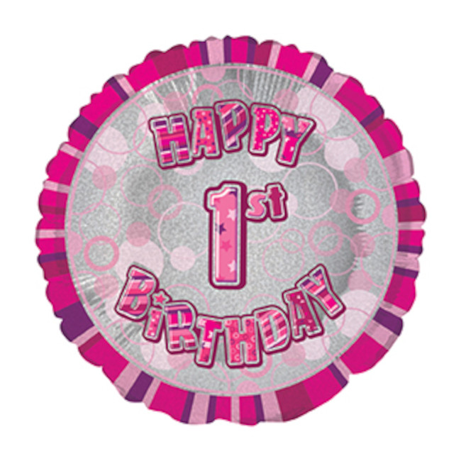 Foil Balloon 1 Prismatic Pink 45cm