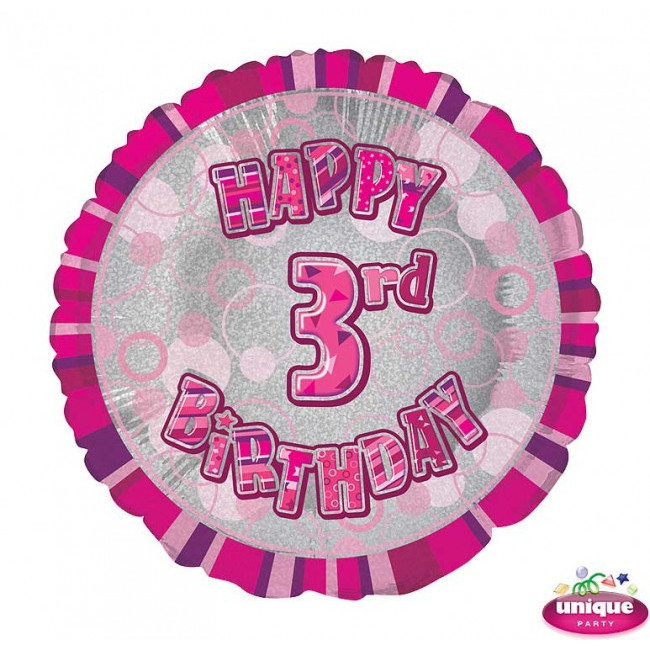 Foil Balloon 3 Prismatic Pink 45cm