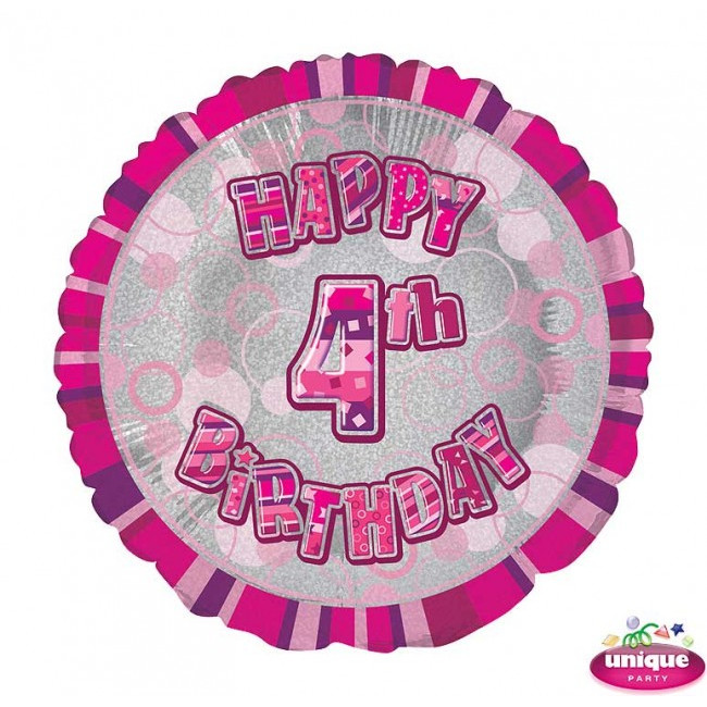Foil Balloon 4 Prismatic Pink 45cm