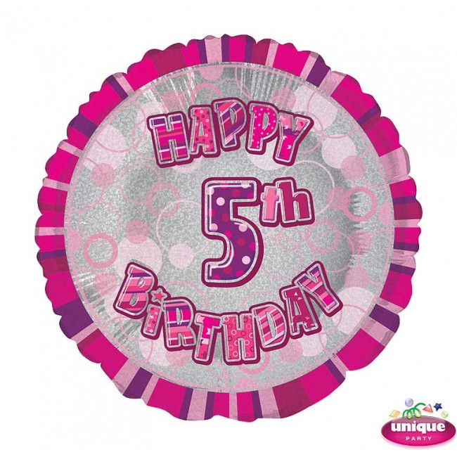Foil Balloon 5 Prismatic Pink 45cm