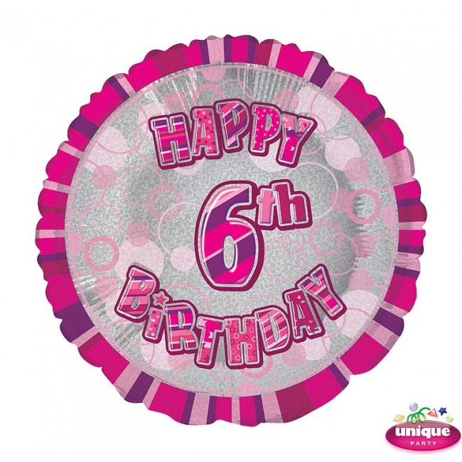 Foil Balloon 6 Prismatic Pink 45cm