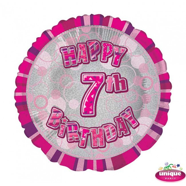 Foil Balloon 7 Prismatic Pink 45cm