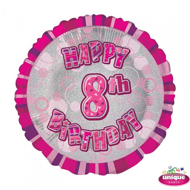 Foil Balloon 8 Prismatic Pink 45cm