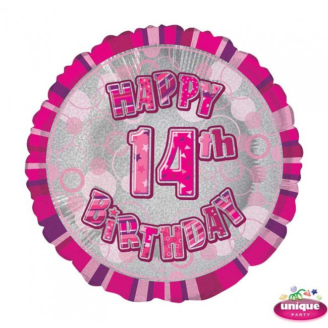 Foil Balloon 14 Prismatic Pink 45cm