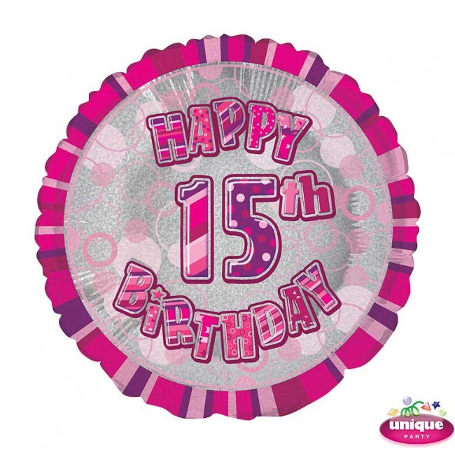 Foil Balloon 15 Prismatic Pink 45cm