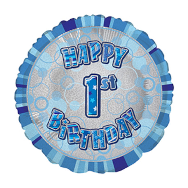 Foil Balloon 1 Prismatic Blue 45cm