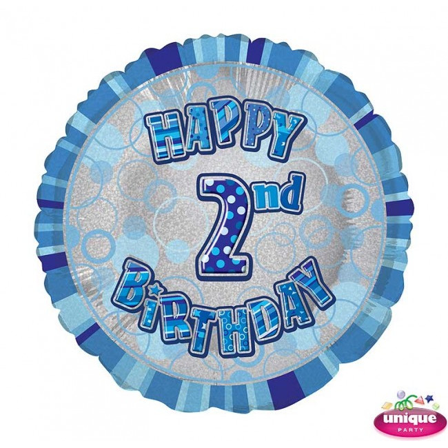 Foil Balloon 2 Prismatic Blue 45cm