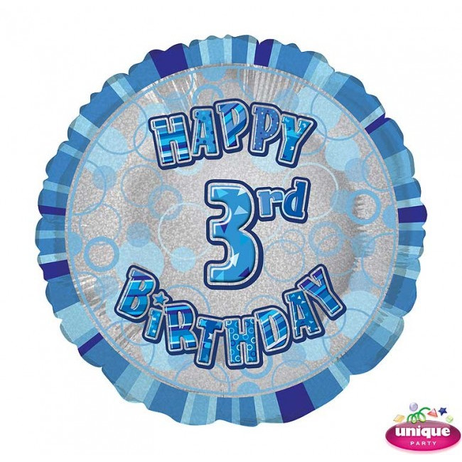 Foil Balloon 3 Prismatic Blue 45cm