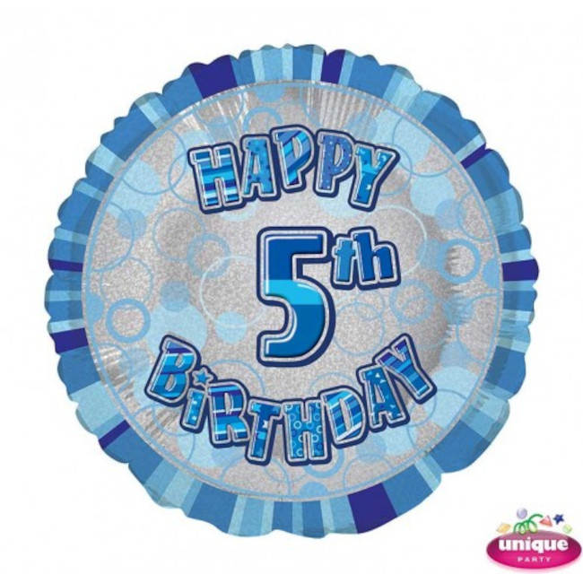 Foil Balloon 5 Prismatic Blue 45cm