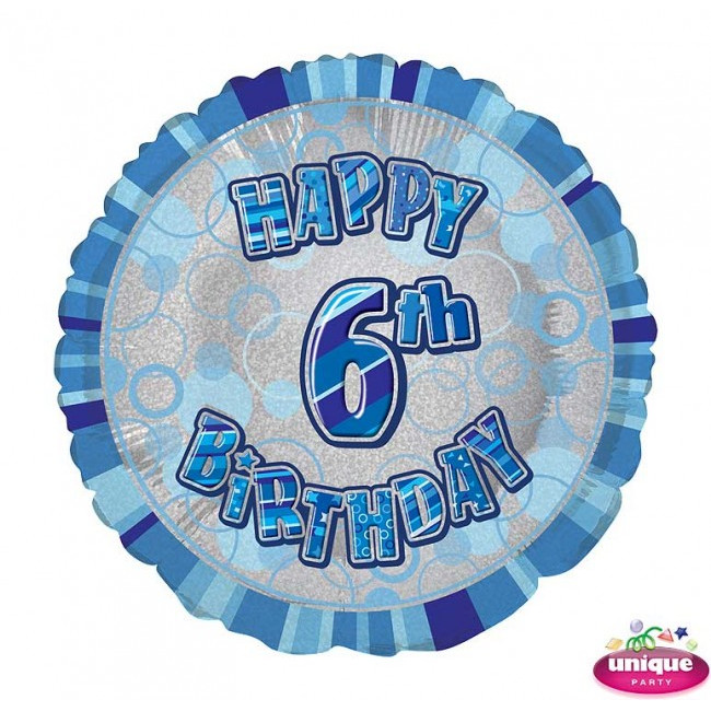 Foil Balloon 6 Prismatic Blue 45cm