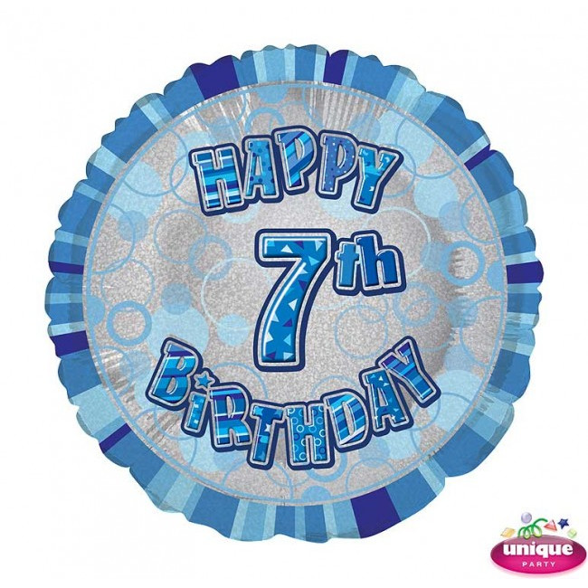 Foil Balloon 7 Prismatic Blue 45cm