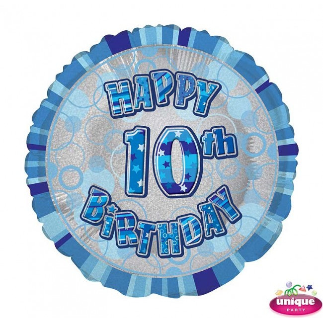 Foil Balloon 10 Prismatic Blue 45cm