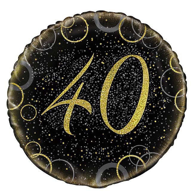 Foil Balloon 40th Birthday Prismatic 45cm