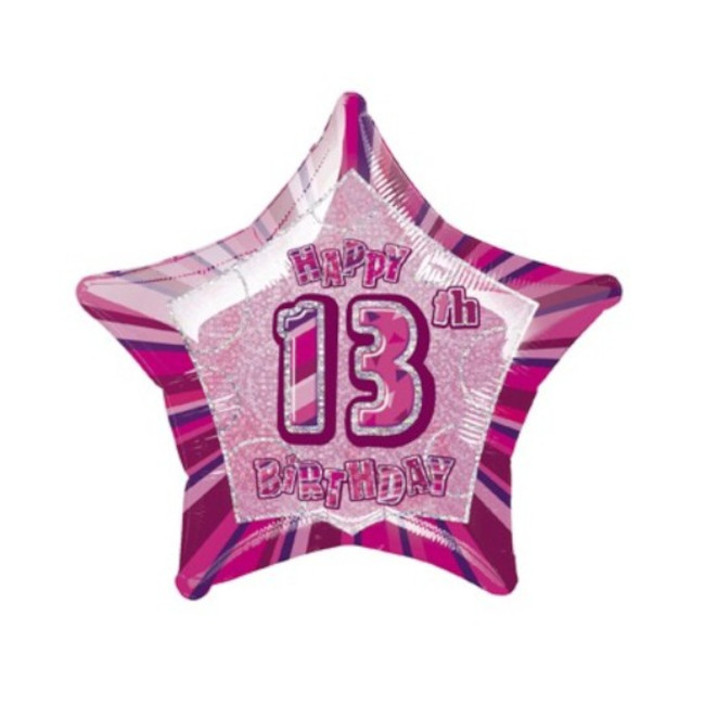 Foil Balloon Pink Star 13th Birthday 50cm