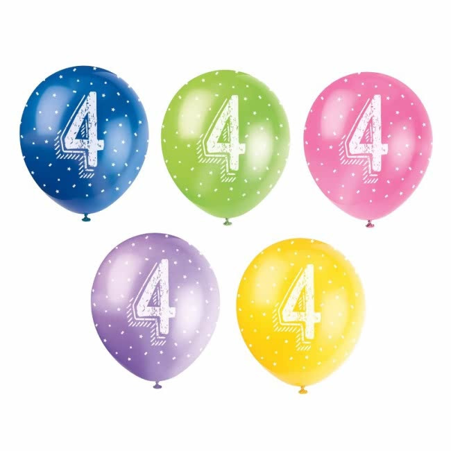 5 Balloons No. 4 Assorted colours Pearlised 30cm