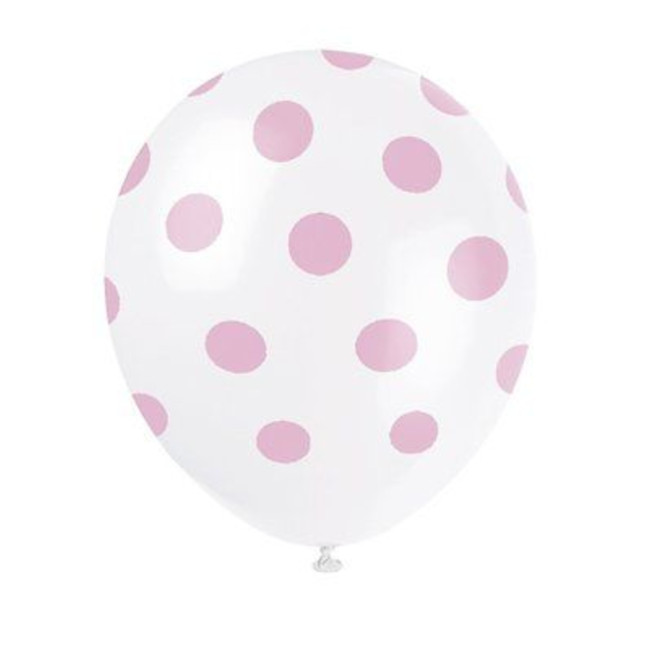 6 Balloons Pink Dots 30cm