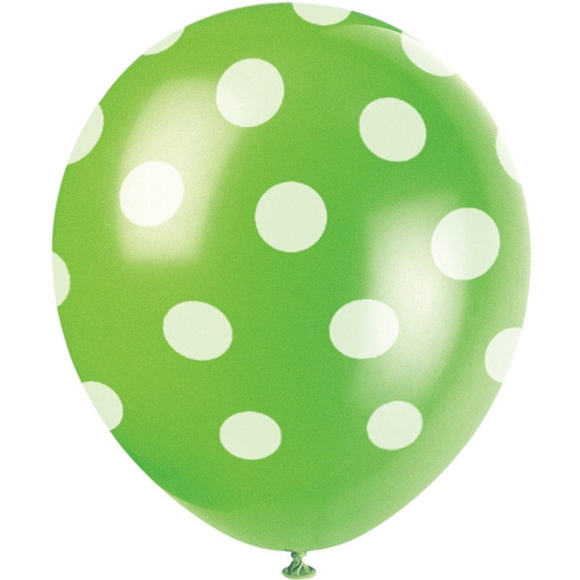 6 Balloons Lime Green Dots 30cm