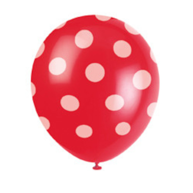 6 Balloons Red Dots 30cm