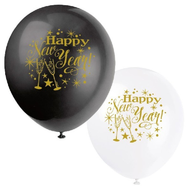 8 Balloons 30cm New Year