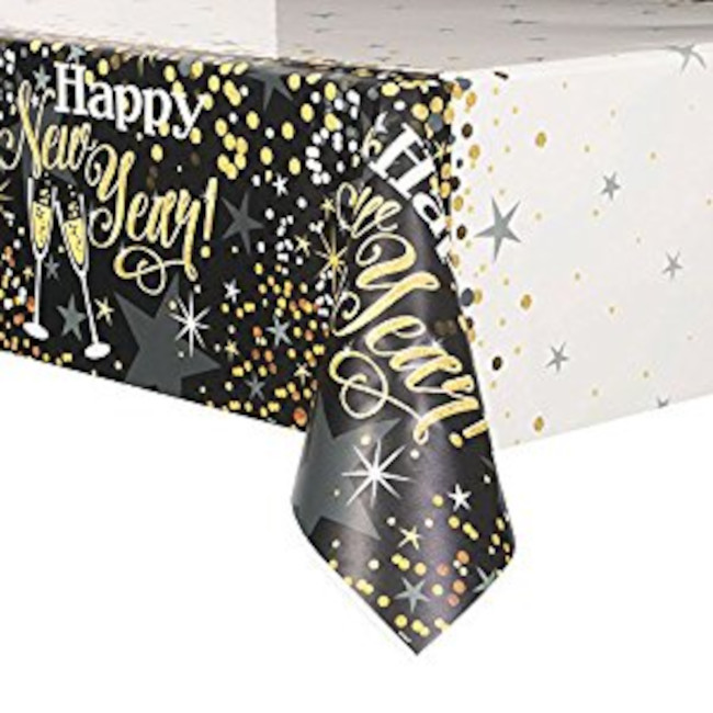 Plastic Tablecover New Year 137x213cm