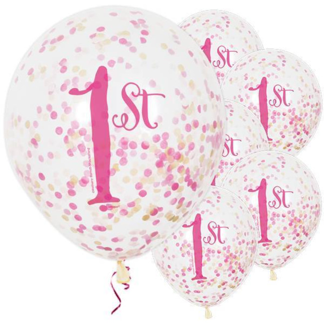 6 Μπαλόνια 1st Birthday Clear with confetti 30cm