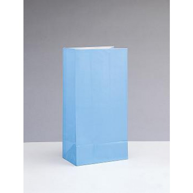 12 Paper Party Bags Light Blue
