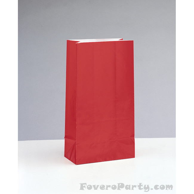 12 Paper Party Bags Red