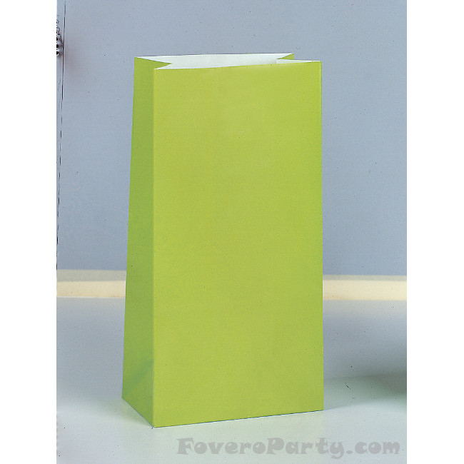 12 Paper Party Bags Lime Green