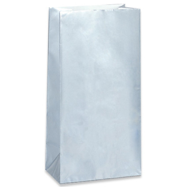10 Paper Party Bags Silver