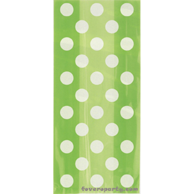 20 Lime Green Dots Cello Bags with Twist Ties 13cmX29cm