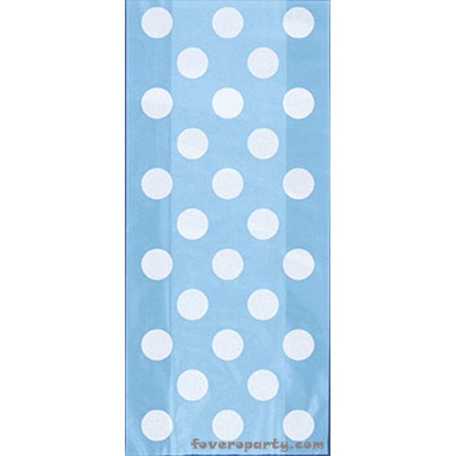 20 Light Blue Dots Bags with Twist Ties 13cmX29cm