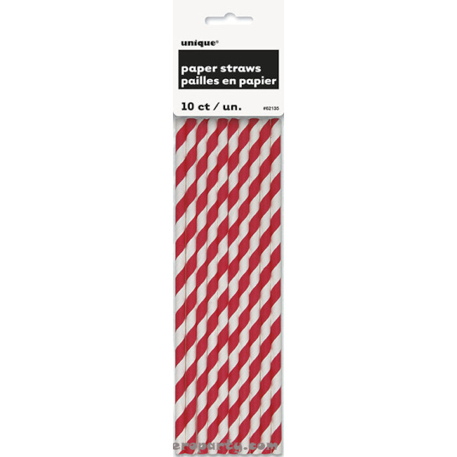 10 Paper Straws Red Stripes