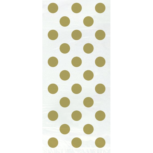 20 Gold Dots Bags with Twist Ties 13cmX29cm