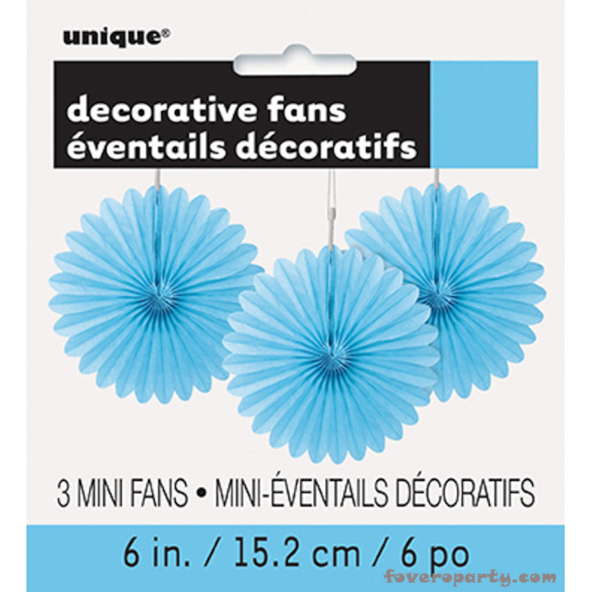 3 Decorative Fan Light blue 15 cm